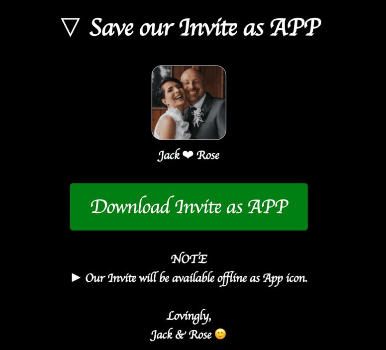Auto prompt invitees to save invite as App